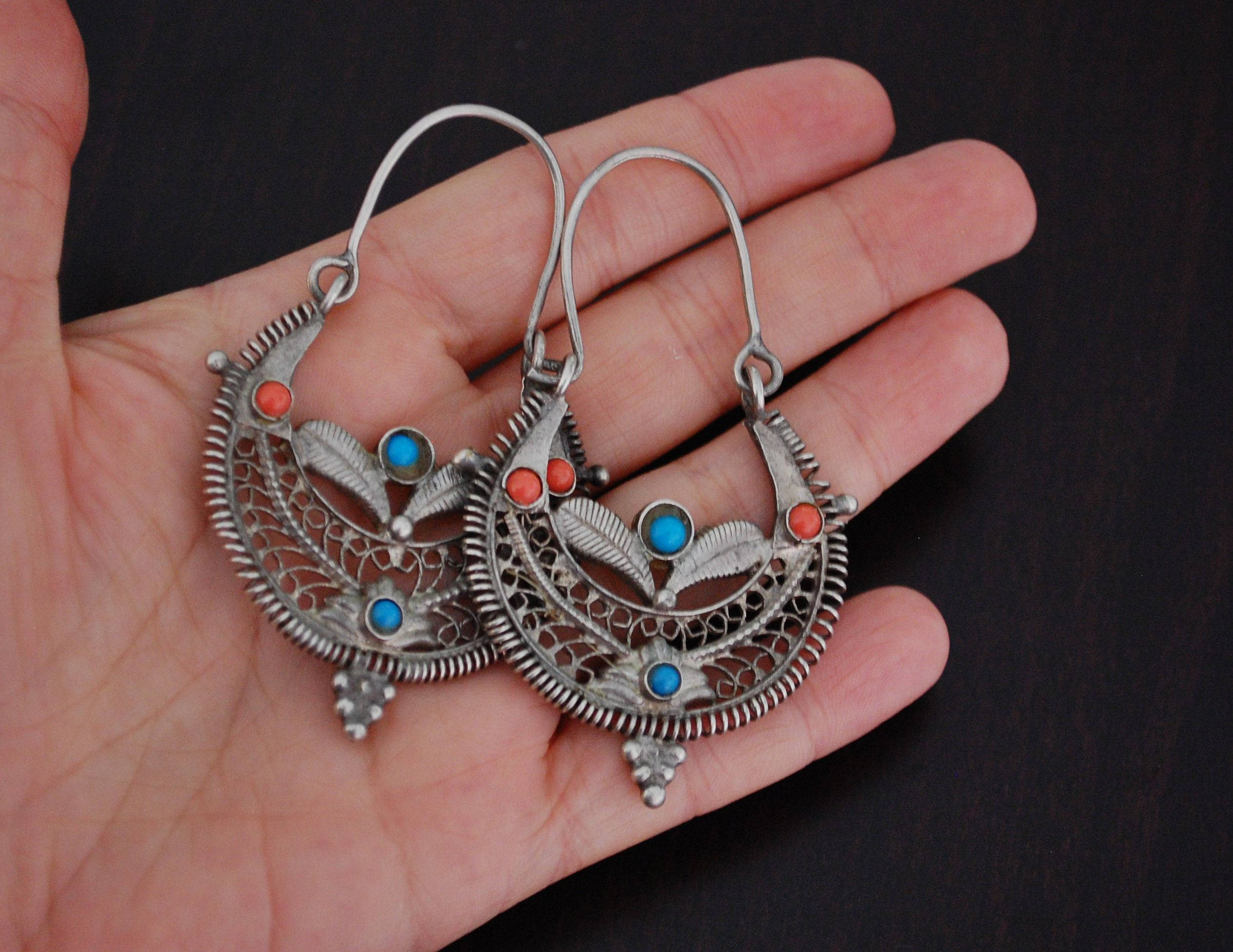 Big Afghani Tribal Hoop Earrings with Colored Glass - Tribal Hoop Earrings - Afghani Earrings - Ethnic Hoop Earrings - Afghani Jewelry