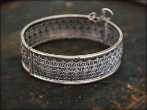 Ethnic Filigree Hinged Bangle Bracelet - Ethnic Silver Bracelet - Ethnic Hinged Cuff Bracelet