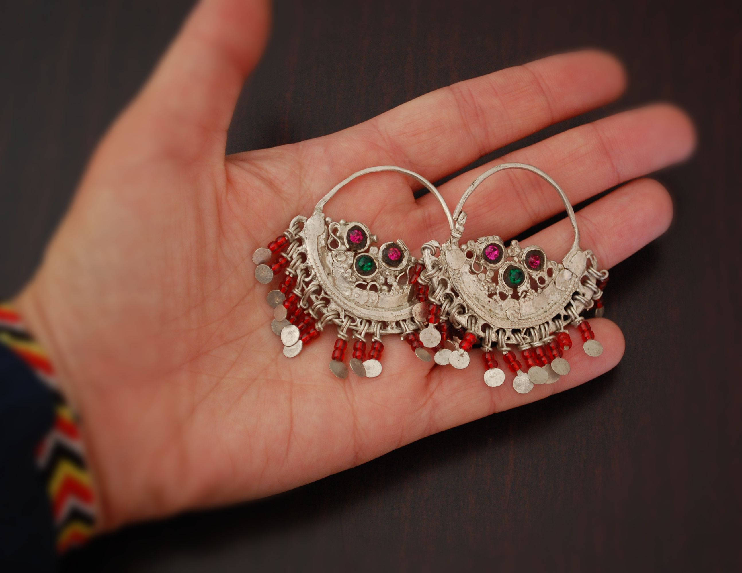 Antique Afghan Tribal Hoop Earrings - Tribal Hoop Earrings - Afghan Hoop Earrings - Ethnic Hoop Earrings