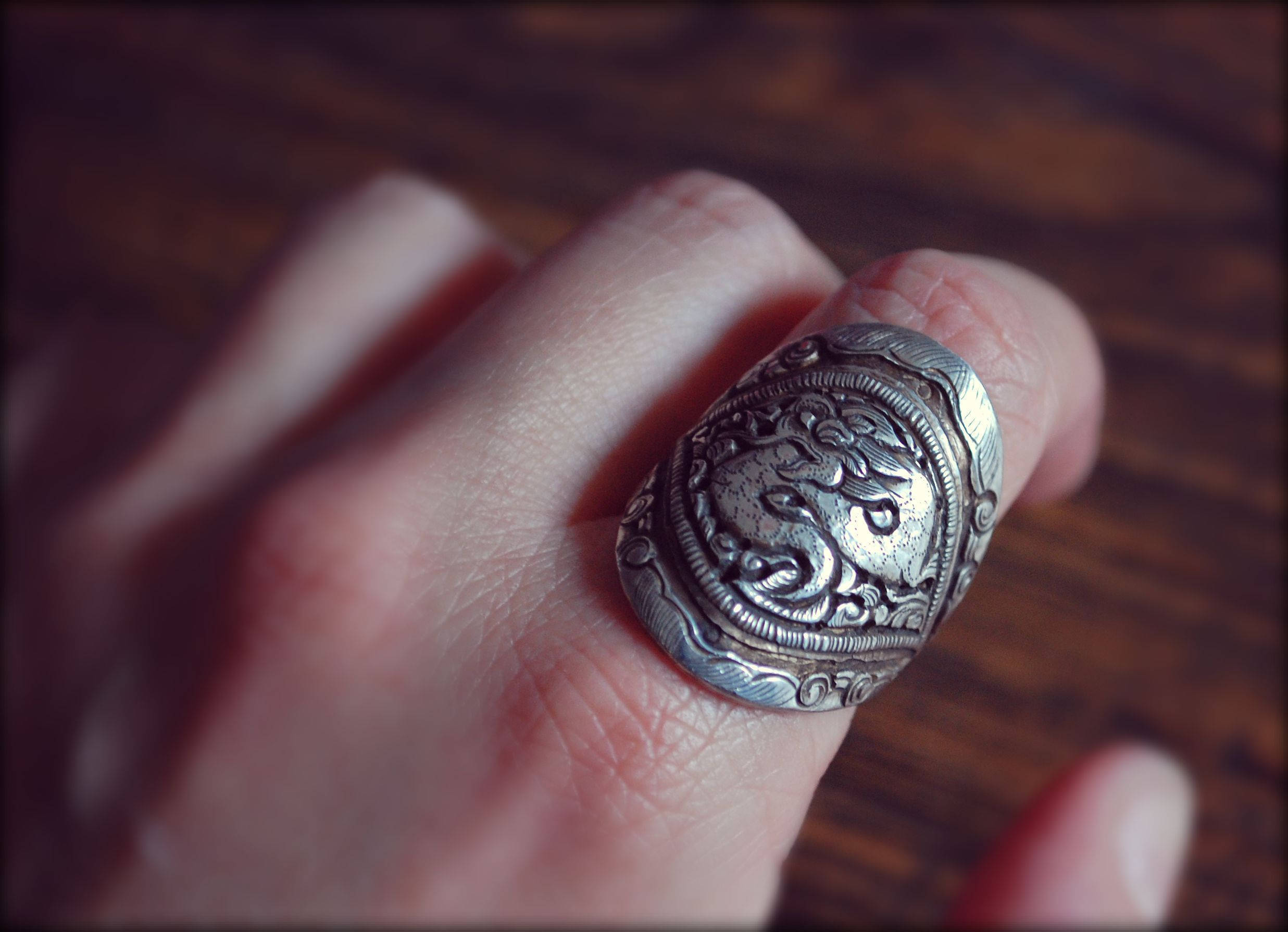 Dragon Repoussee Ring - Size 9 - Nepalese Dragon Ring - Asian Dragon Ring - Ethnic Dragon Ring