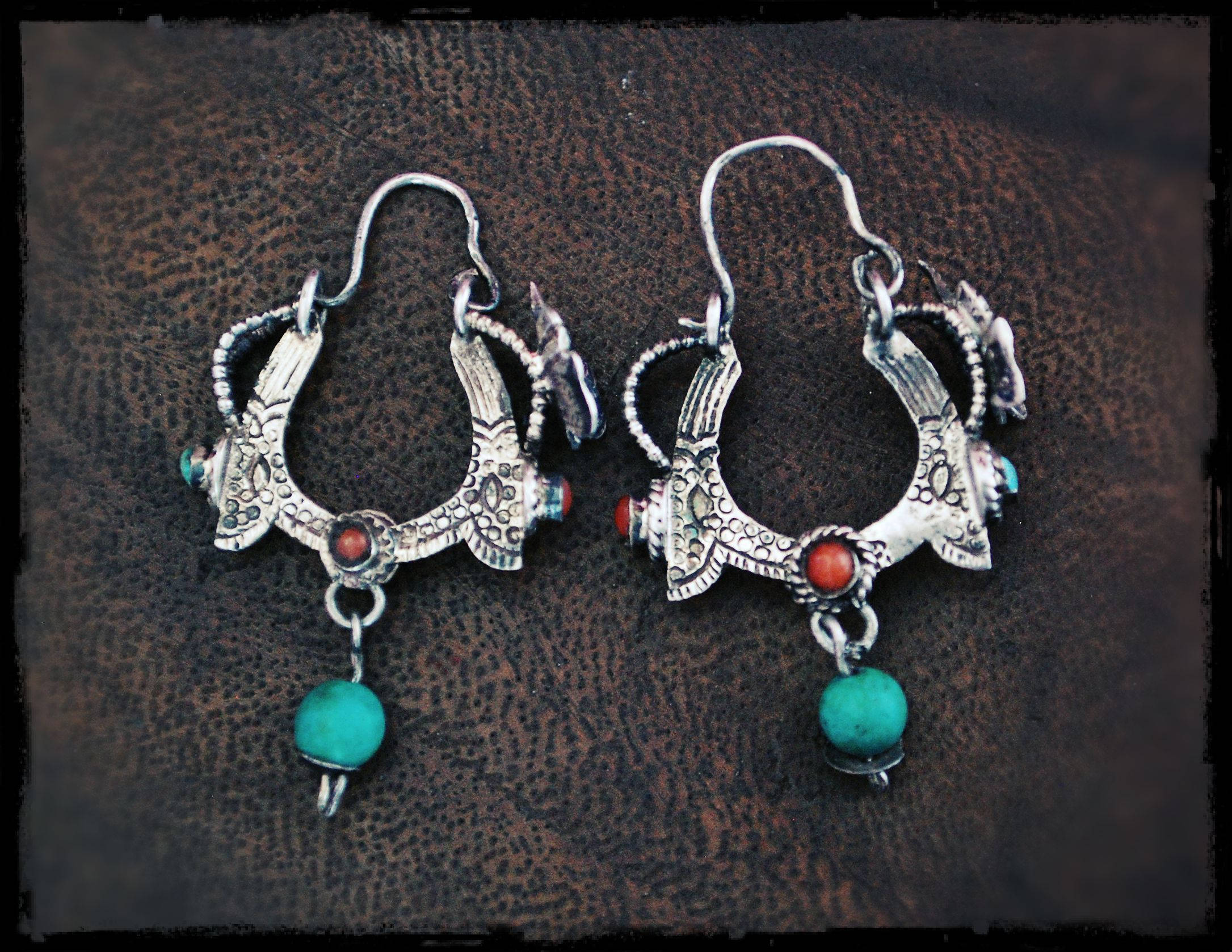Tibetan Hoop Earrings with Turquoise