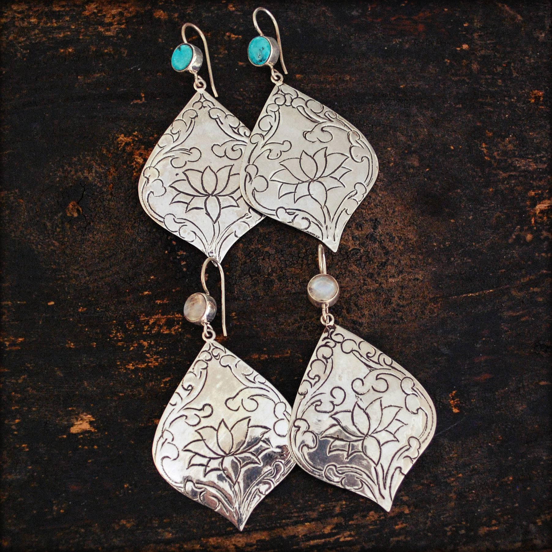 Lotus Dangle Earrings with Turquoise and Moonstone