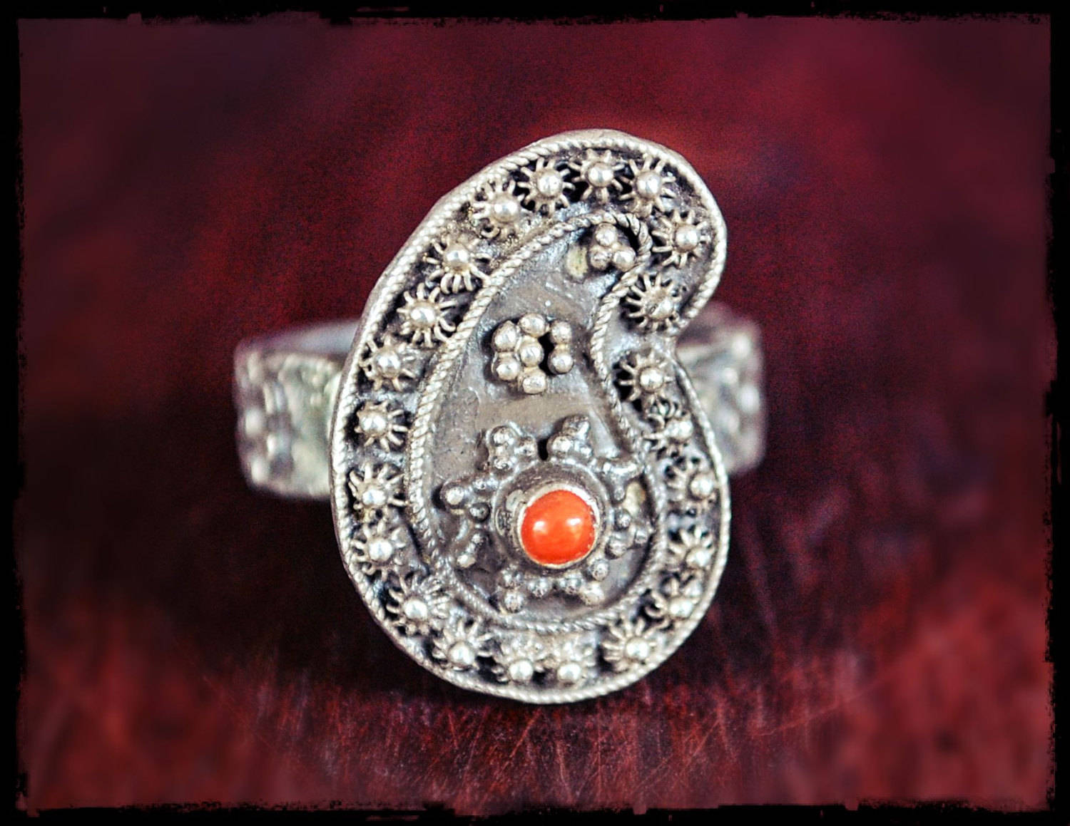 Rajasthan Coral Paisley Ring - Size 7.5
