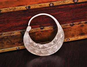 Tuareg Hoop Earring - Single Hoop Earring - Ethnic Tribal Hoop Earring - Tuareg Silver Earrings - Tuareg Jewelry