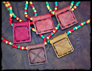 African Rasta Gri Gri Necklace from Mali - Tribal Tuareg Necklace - African Leather Talisman - Rasta Bead Necklace