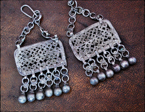 Egyptian Zar Earrings - Zar Cult Earrings - Bedouin Silver Earrings - Bedouin Silver Jewelry - Tribal Earrings - Nubian Silver Earrings
