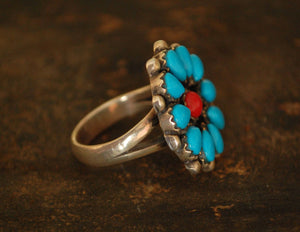 Native American Turquoise Coral Ring - Size 8 1/2