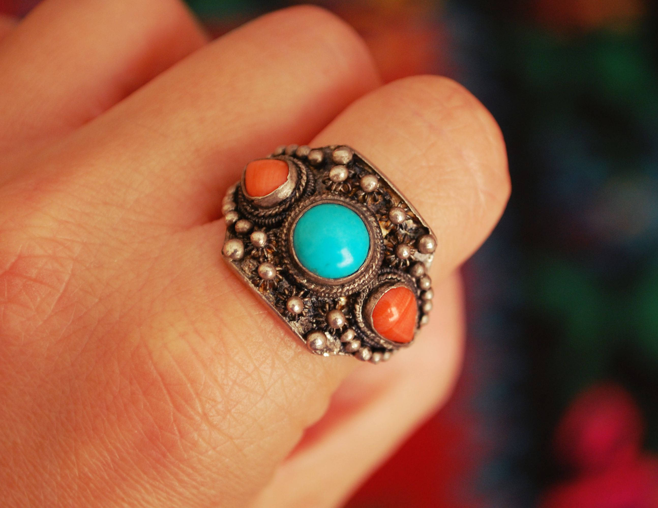 Antique Chinese Coral and Turquoise Ring - Size 9 - Antique Chinese Ring - Ethnic Chinese Ring - Antique Coral Ring - Old Chinese Ring