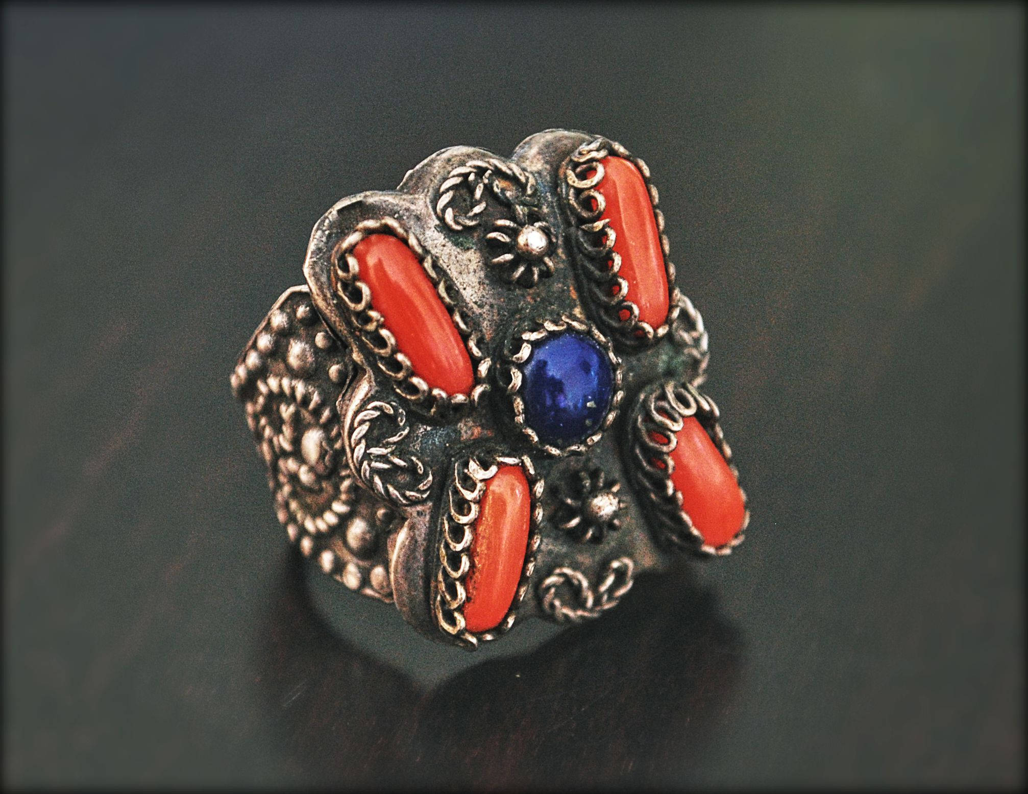 Antique Chinese Coral Lapis Ring - Size 6.5+ - Antique Chinese Ring - Ethnic Chinese Ring - Antique Coral Ring - Old Chinese Ring