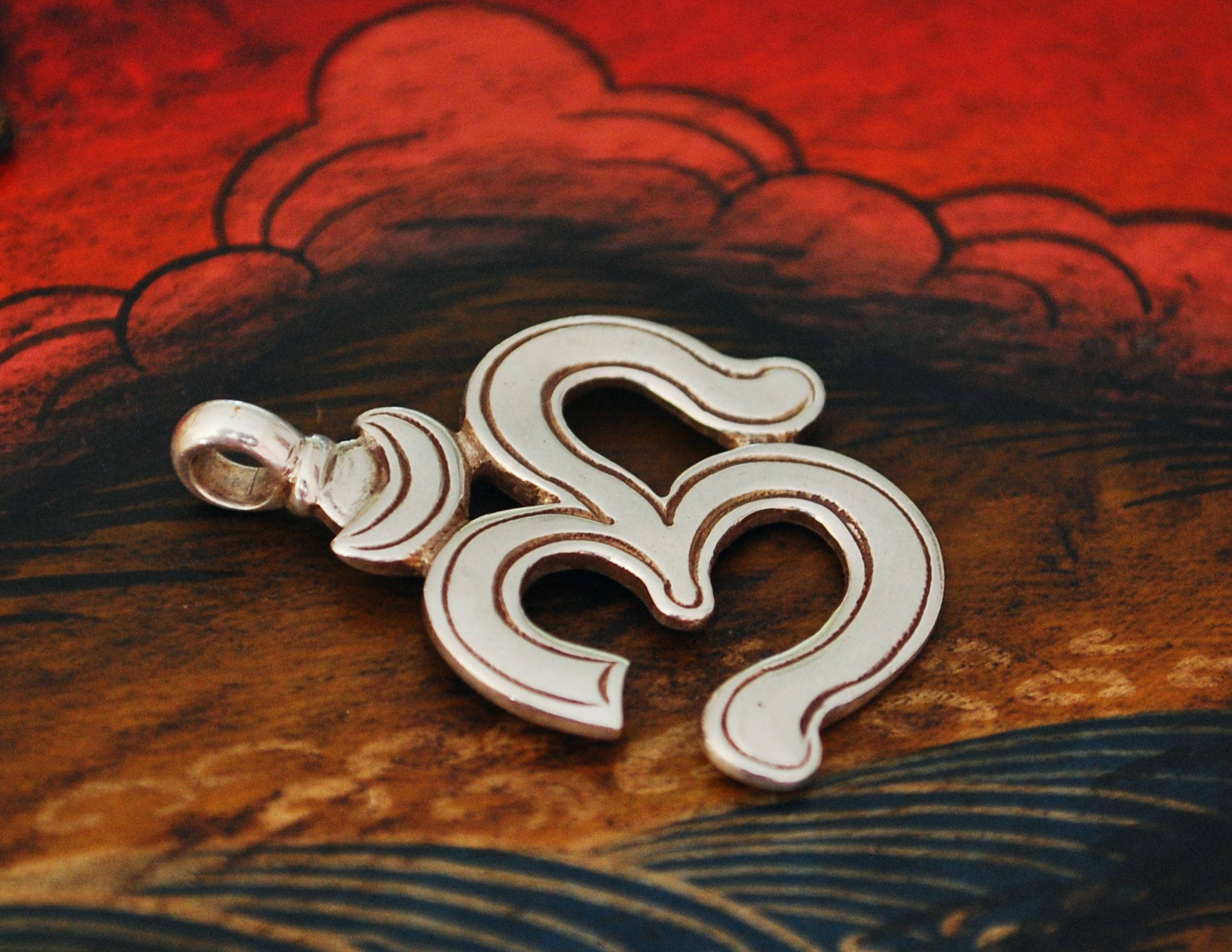 Om Pendant Charm - Sterling Silver Om Pendant - Yoga Jewelry