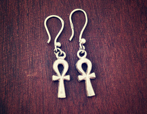 Egyptian Ankh Earrings - Ankh Dangle Earrings - Egypt Silver Earrings - Ankh Jewelry