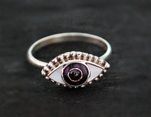 Eye Ring with Mother of Pearl, Onyx and Garnet - Size 8