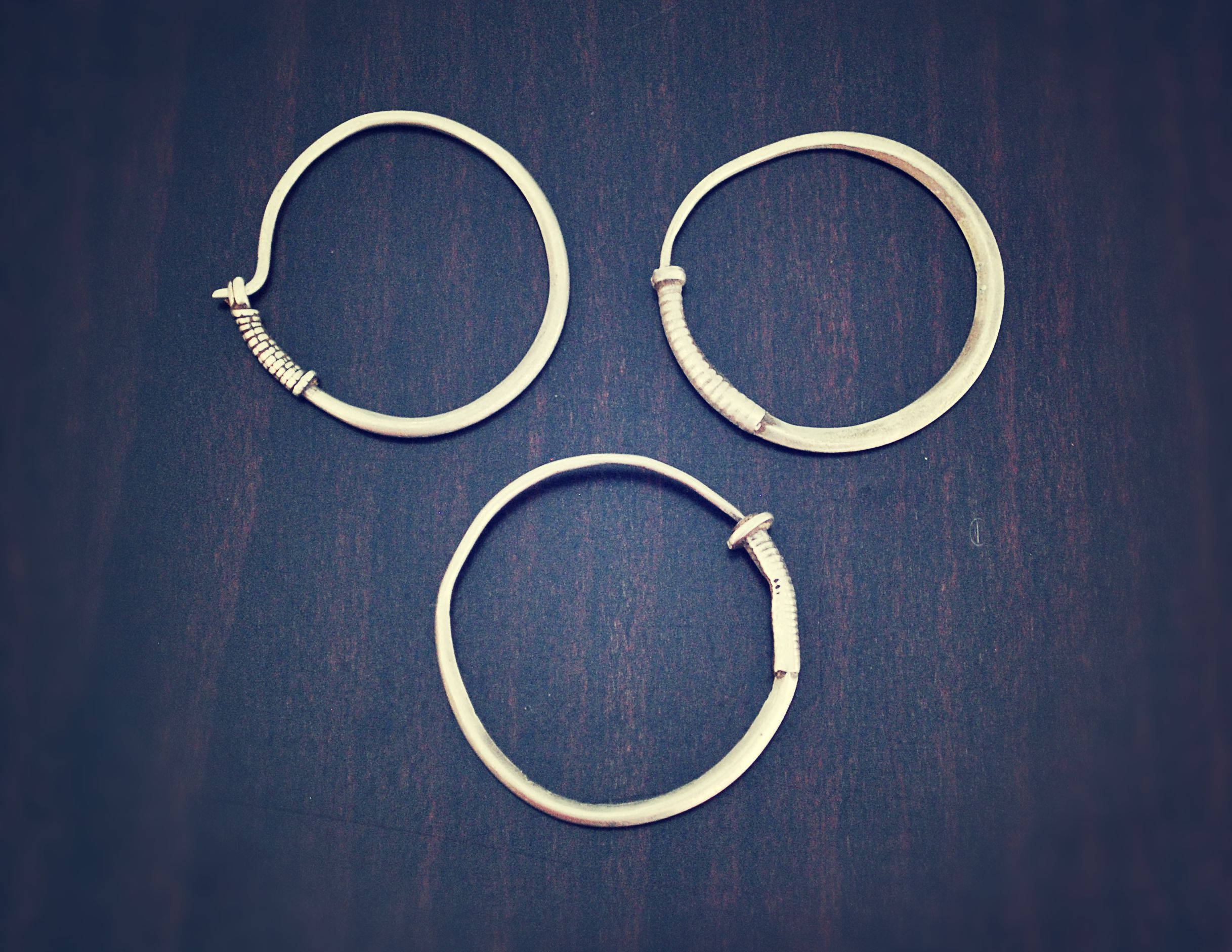 Three Antique Afghan Tribal Hoop Earrings - Kuchi Hoop Earrings - Tribal Hoop Earrings - Afghan Silver Earrings - Gypsy Hoop Earrings