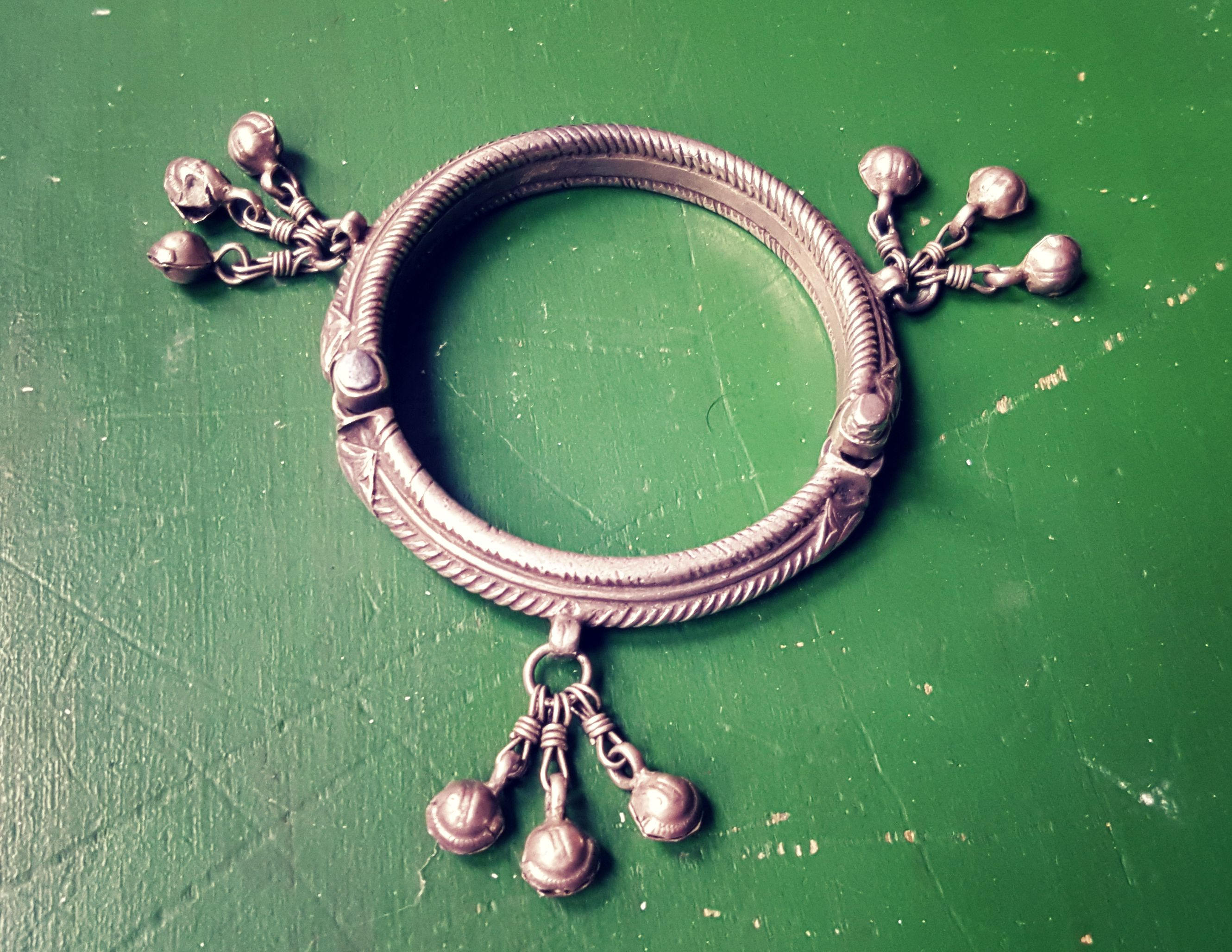 Rajasthani Silver Bracelet with Bells - Rajasthan Jewellery - Rajasthan Silver - Indian Tribal Silver Bracelet