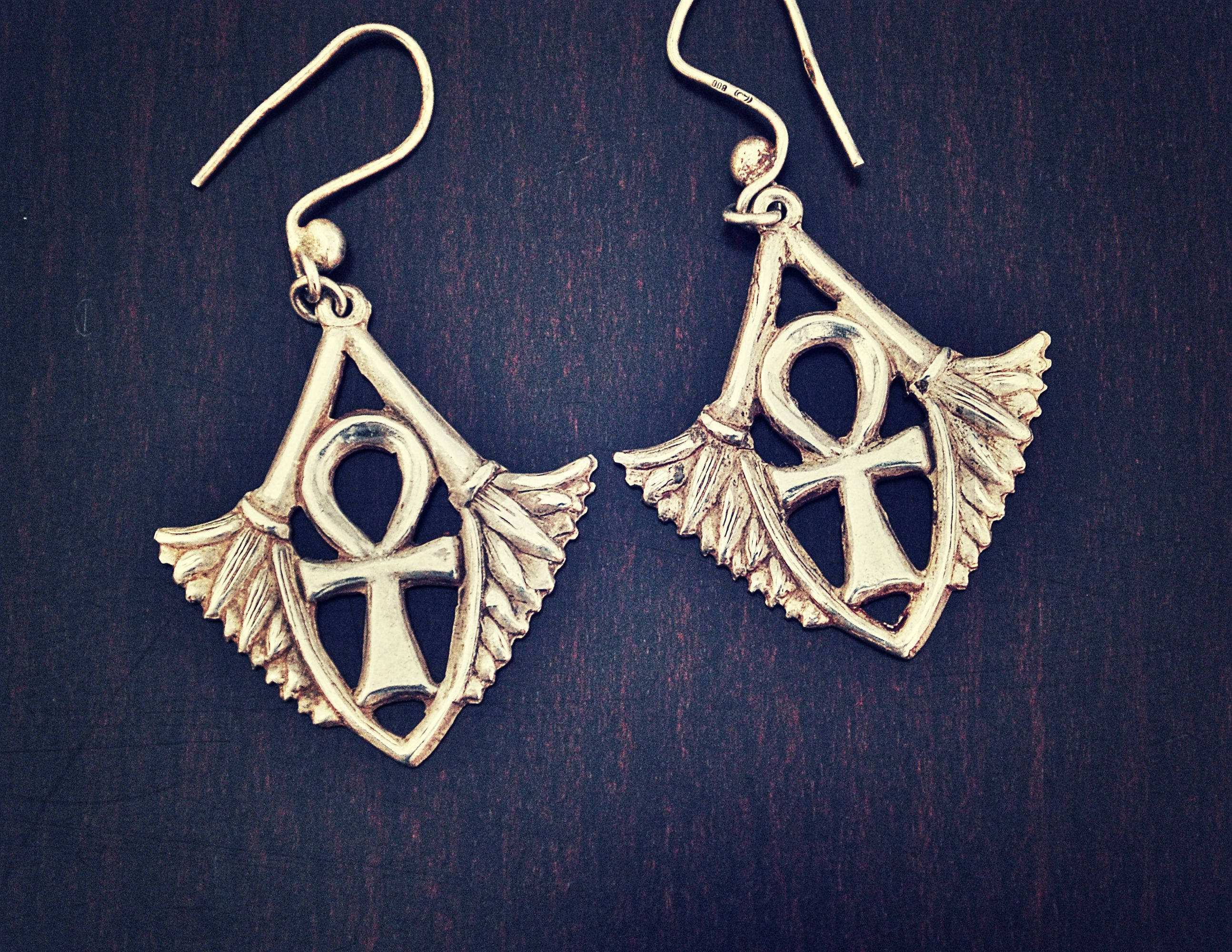 Egyptian Ankh and Lotus Earrings - Ankh Dangle Earrings - Egypt Silver Earrings - Ankh Jewelry