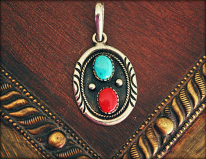 Navajo Coral and Turquoise Pendant - Native American Pendant with Coral and Turquoise