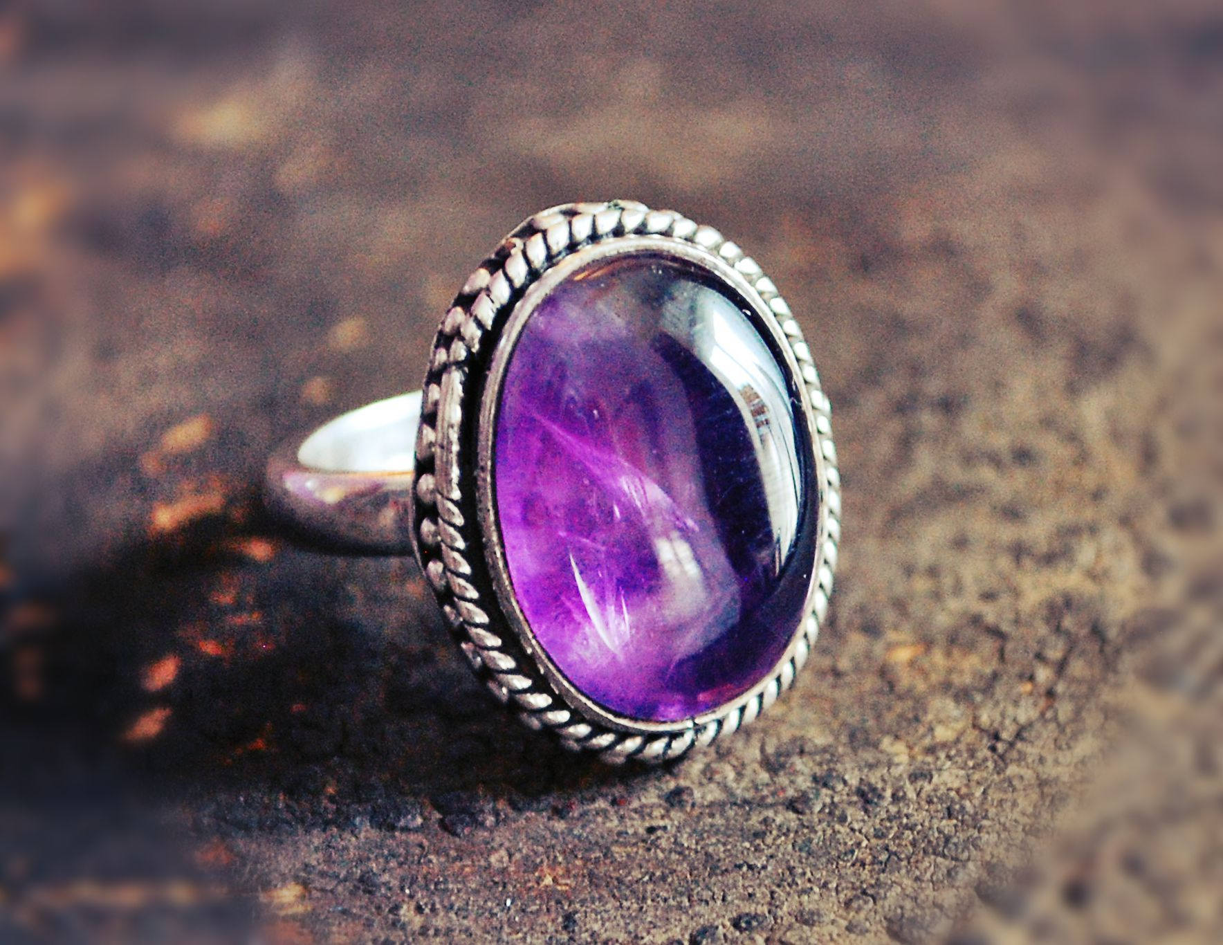Amethyst Ring from India - Size 4.5 - Indian Amethyst Ring - Ethnic Amethyst Ring - Indian Jewelry - Ethnic Ring - Amethyst Ring