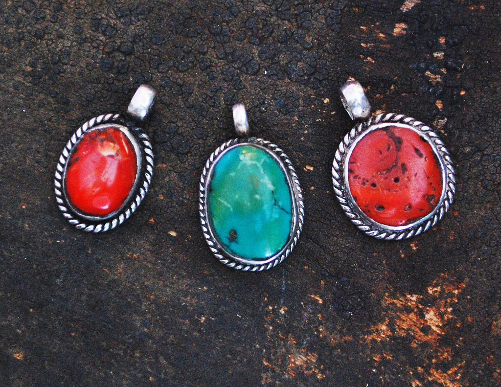 Old Nepalese Turquoise Coral Pendant - Turquoise Jewelry - Nepal Jewelry - Nepalese Jewelry - Coral Pendant