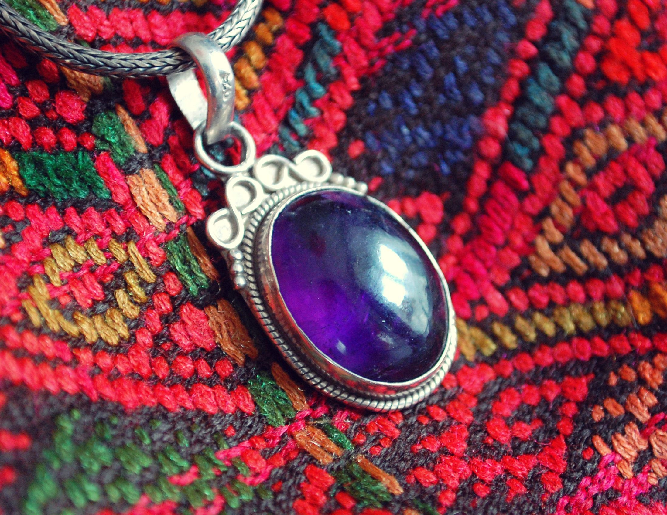 Amethyst Pendant from India - India Amethyst Sterling Silver Pendant - Amethyst Jewelry
