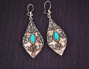 Ethnic Turquoise Earrings from Greece