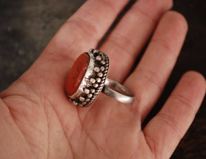 Antique Tibetan Coral Ring - Size 8.5 - Tribal Coral Nugget Ring - Tibetan Coral Ring - Antique Tibetan Jewelry