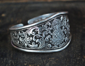 Ganesha Sterling Silver Cuff Bracelet from India - Ganesha Jewerly - Rajasthani Bracelet - Rajasthani Jewelry - Ethnic Indian Bracelet