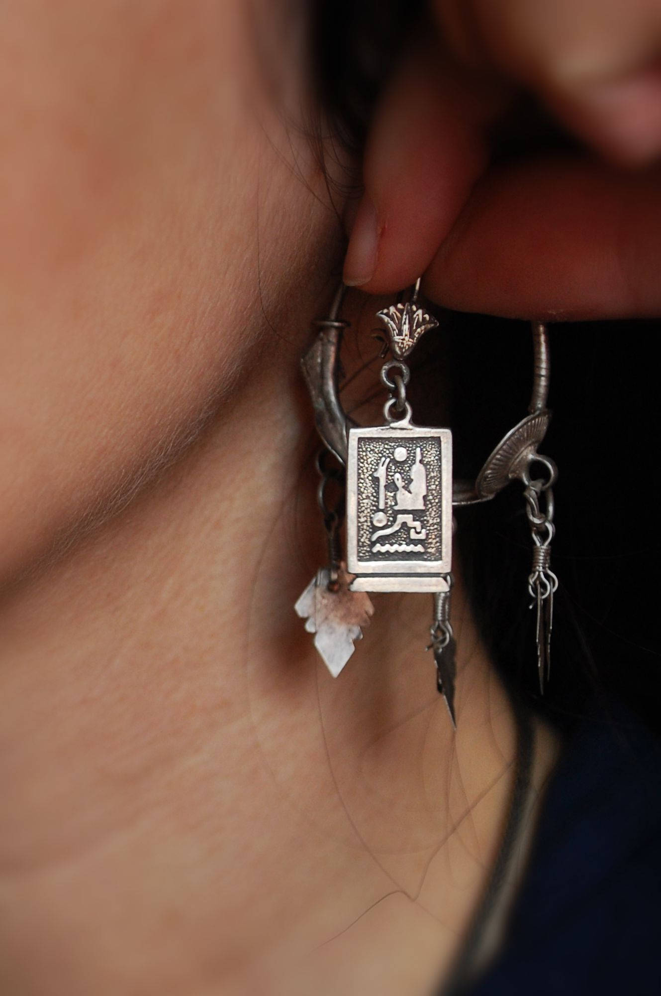 Egyptian Hieroglyph Earrings - Egyptian Cartouche Earrings - Egypt Silver Earrings - Egyptian Jewelry