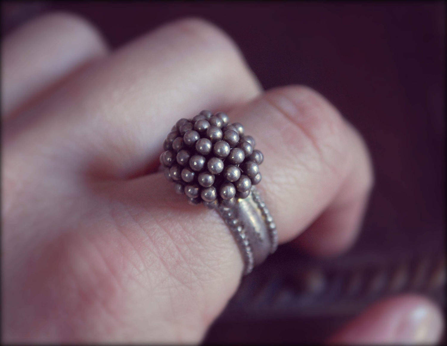 Tribal Rajasthan Silver Ring with Bells- Size 7 - Ethnic Tribal Indian Silver Ring - Rajasthani Silver Ring