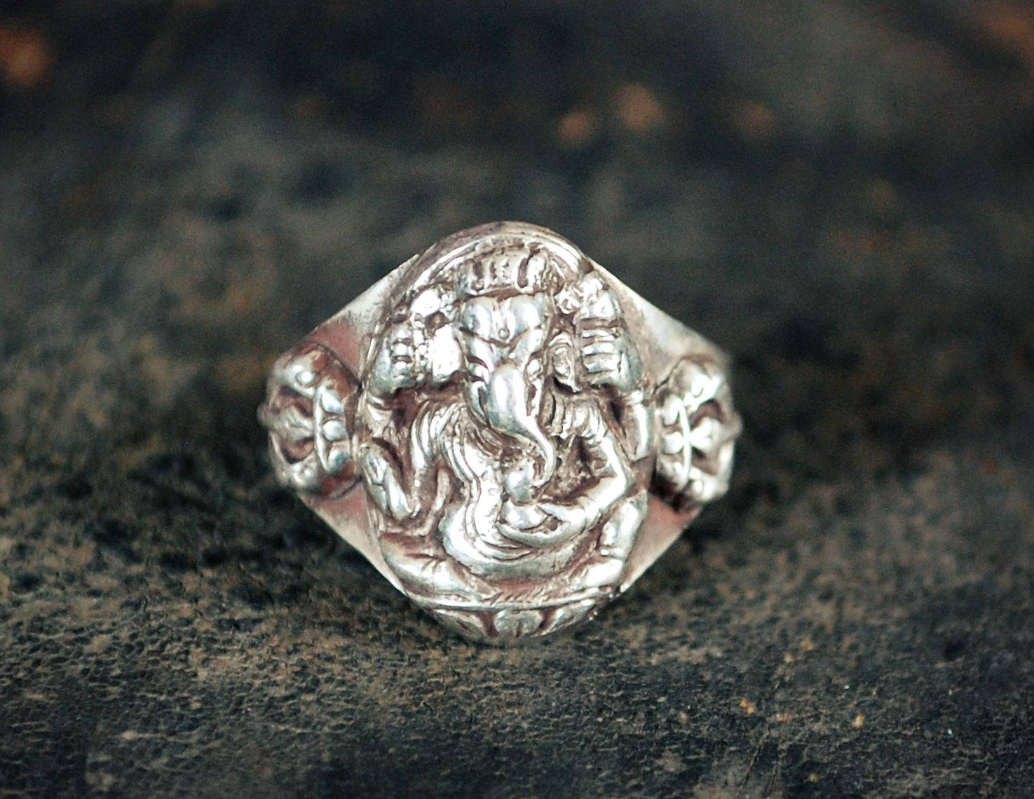 Ganesha Sterling Silver Ring - Size 7