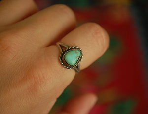 Turquoise Silver Ring - Size 7