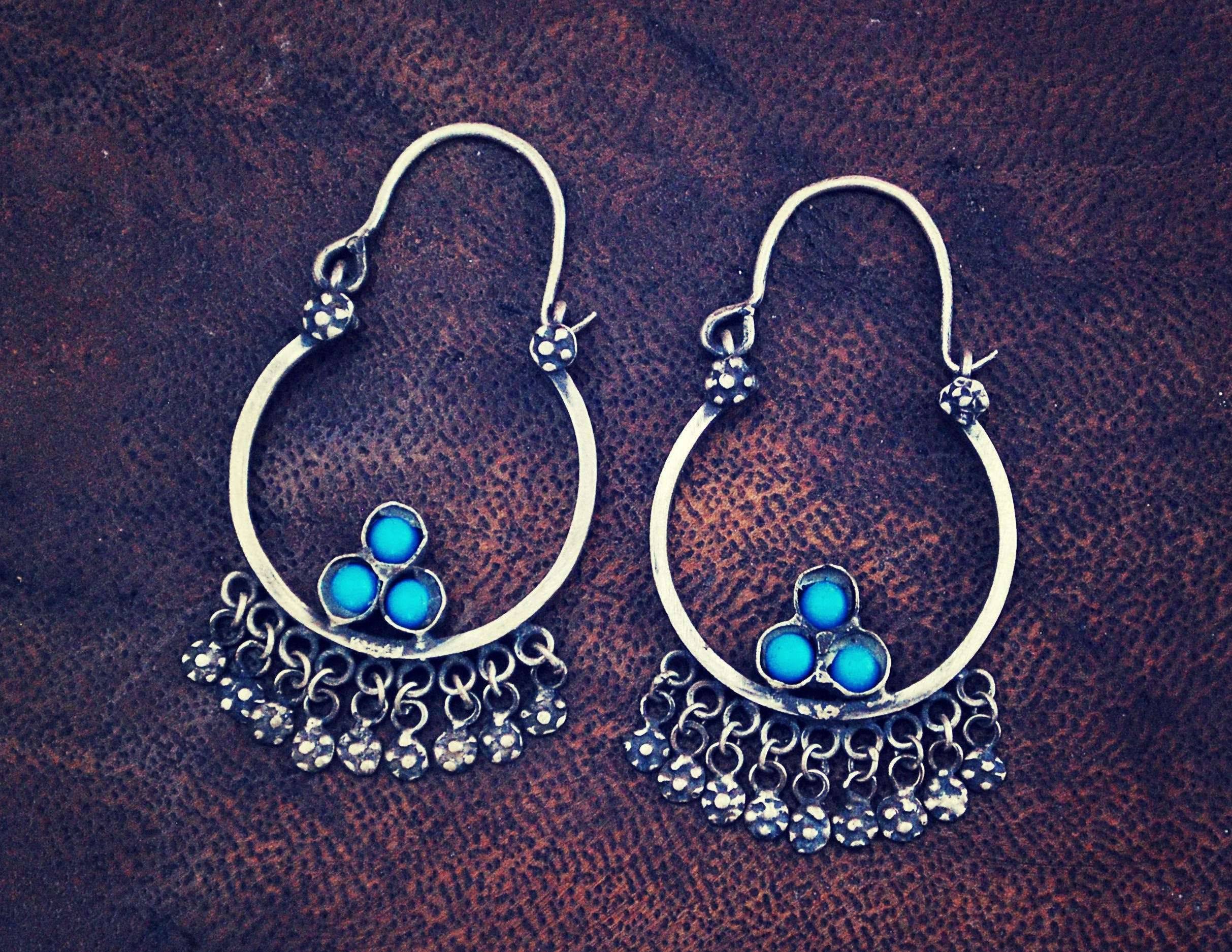 Antique Afghani Tribal Hoop Earrings - Tribal Hoop Earrings - Afghani Earrings - Ethnic Hoop Earrings - Afghani Jewelry