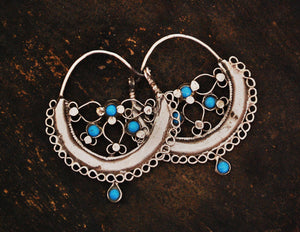 Antique Afghani Hoop Earrings with Turquoise - Afghani Earrings - Afghani Jewelry - Ethnic Hoop Earrings