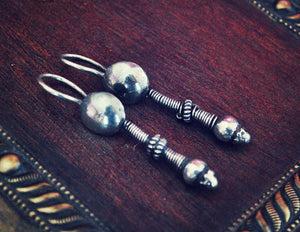 Rajasthani Silver Earrings - Indian Tribal Silver Earrings - Tribal Rajasthan Silver Jewelry - Ethnic Tribal Earrings