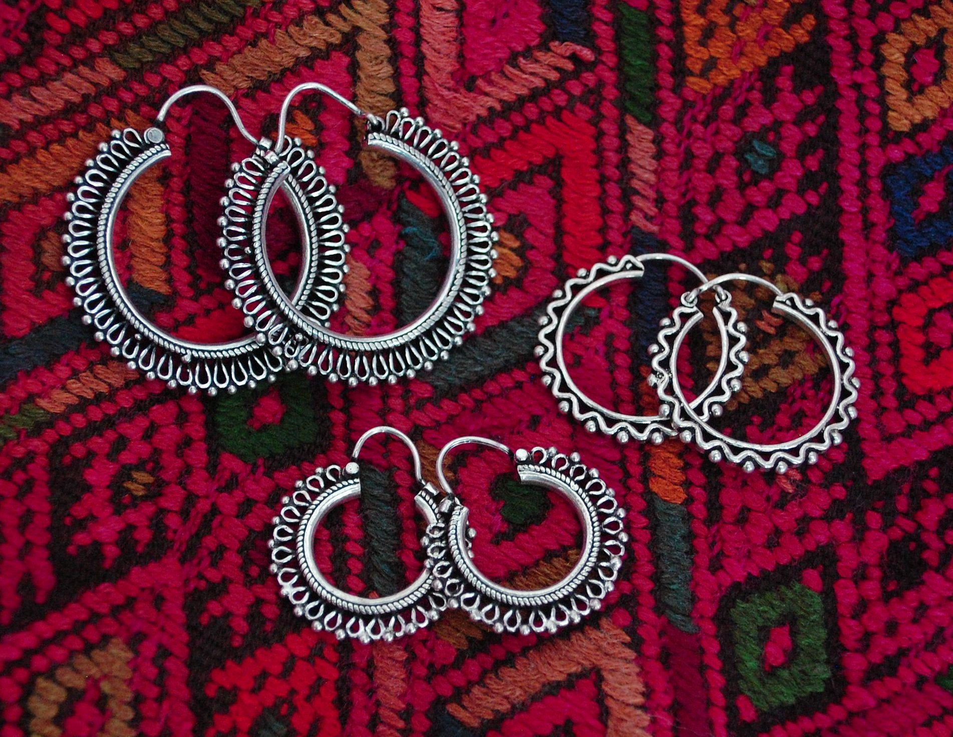 Rajasthani Silver Hoop Earrings - Small - Sterling Silver Hoop Earrings from India - Ethnic Sterling Silver Hoop Earrings - Rajasthan Silver