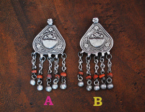 Antique Afghan Silver Pendant with Coral Tassels - Afghani Silver Pendant - Afghani Jewelry