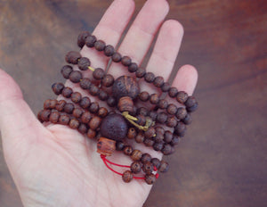 Raktu Seeds Meditation Mala with Red or Green Cord