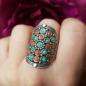 Gypsy Turquoise and Coral Ring - Fantastic! - Size 10.5 - India Ring - Indian Jewelry - Coral Turquoise Ring