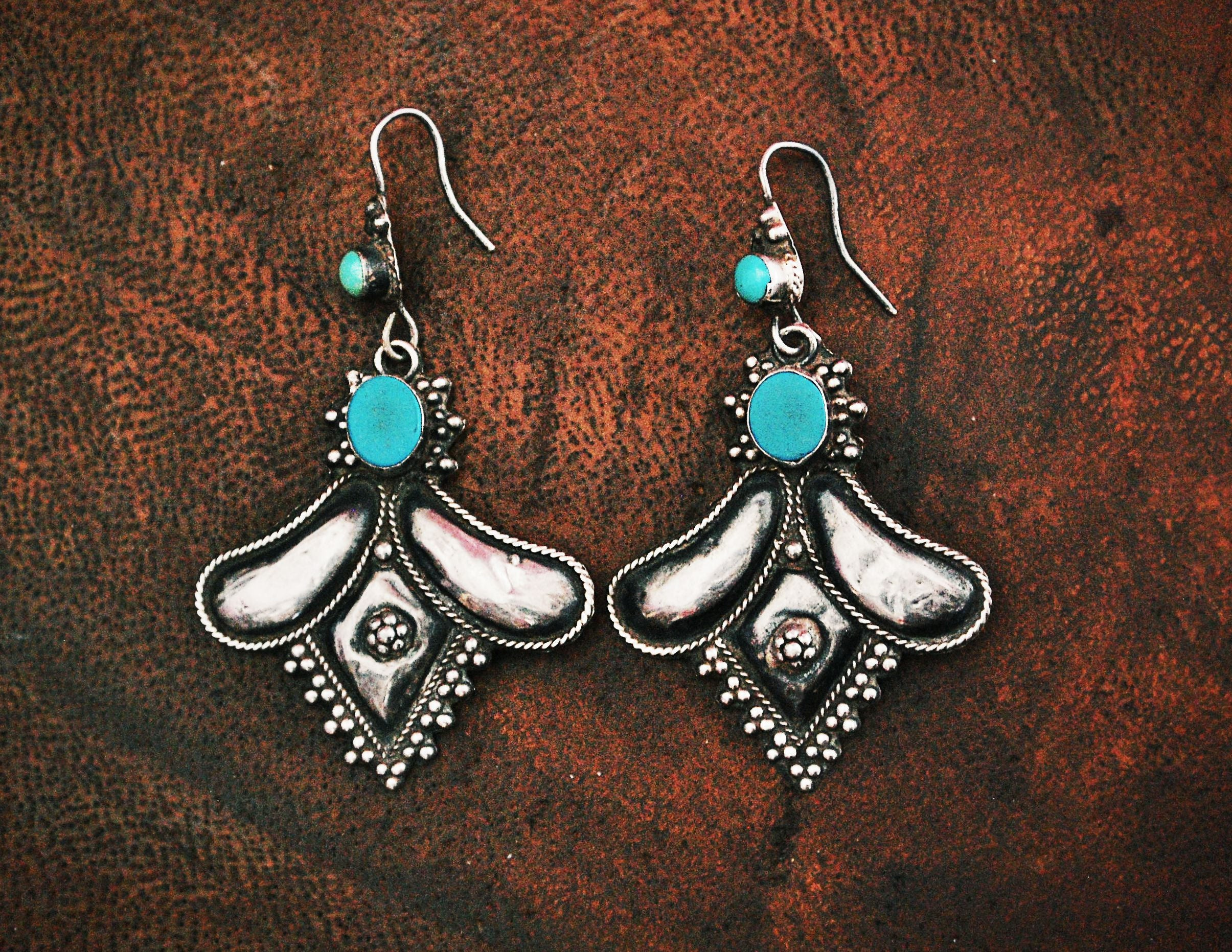 Rajasthani Silver Turquoise Earrings - Rajasthan Silver Earrings - Rajasthan Silver Jewelry - Rajasthani Earrings - Indian Jewelry