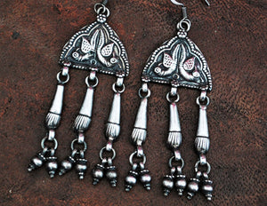 Rajasthani Silver Earrings with Bells - Indian Jewelry - Rajasthan Jewelry - Rajasthan Earrings - Gypsy Jewelry - Gypsy Earrings