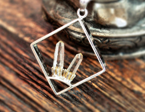 Crystal Quartz Point Pendant on Silver Chain