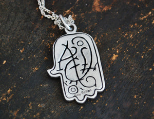 Hamsa Pendant with Eye - Hand of Fatima Pendant Amulet on Silver Chain