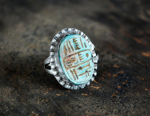 Hieroglyph Soapstone Ring from Egypt - Size 5 - Egyptian Ring - Vintage Egypt Ring - Egyptian Jewelry - Soapstone Jewelry