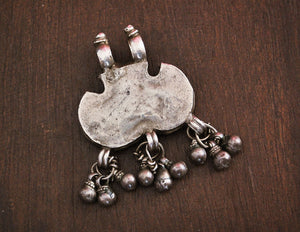 Rajasthani Silver Amulet with Bells - Tribal Indian Amulet - Tribal Rajasthan Pendant - Rajasthani Jewelry