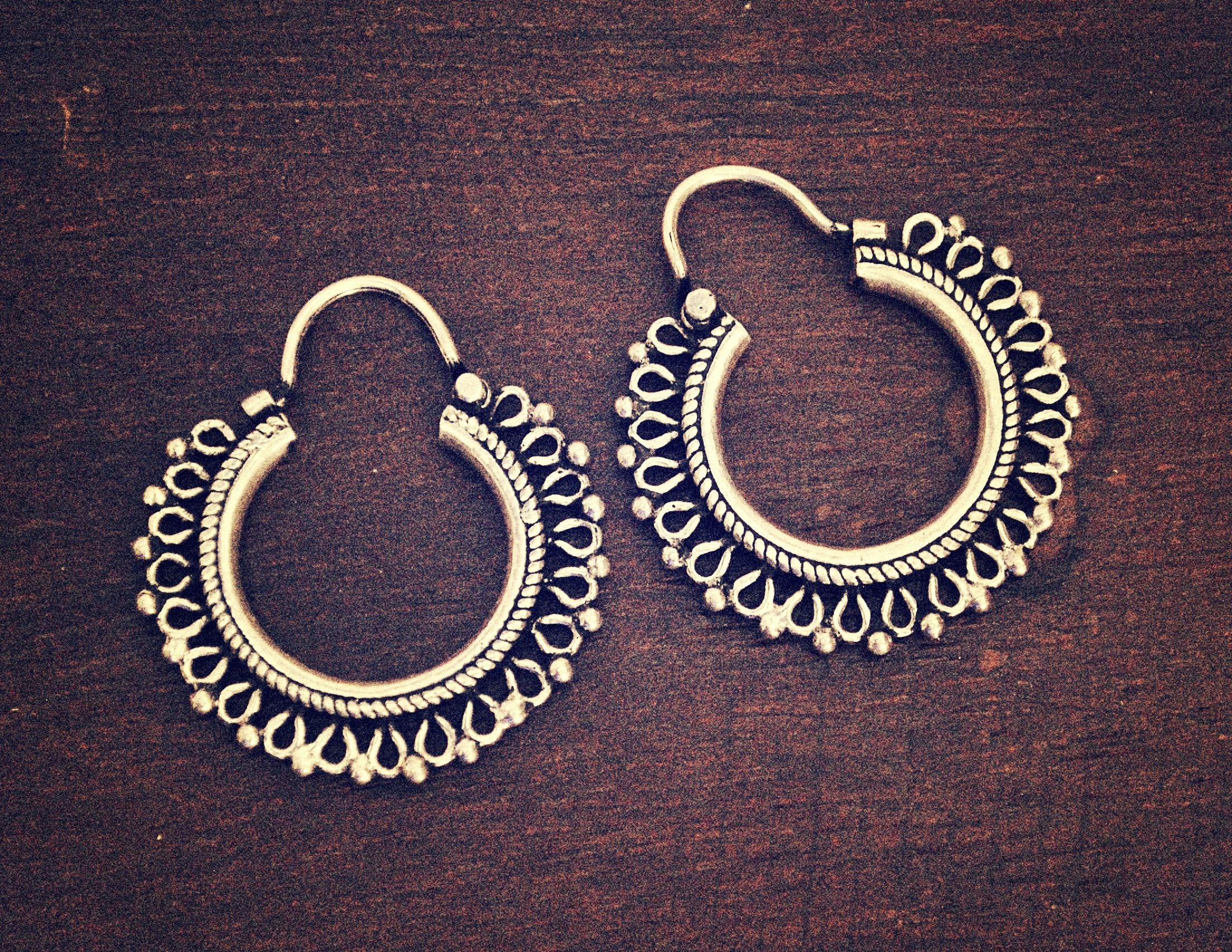 Rajasthani Hoop Earrings - Small - Indian Jewelry - Rajasthan Jewelry - Rajasthan Earrings - Gypsy Jewelry - Gypsy Earrings