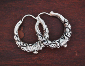 Nepalese Hoop Earrings - MEDIUM - Ethnic Tribal Hoop Earrings - Gypsy Hoop Earrings - Tribal Silver Hoop Earrings - Boho Silver Hoops