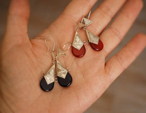 Tuareg Earrings with Red and Blue Glass - Tuareg Jewelry - Ethnic Jewelry - Ethnic Earrings