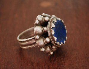 Rajasthani Silver Ring with Lapis Lazuli - Size 8.5 - Rajasthani Silver - Rajasthani Jewelry - Tribal Indian Silver Ring - Lapis Lazuli Ring