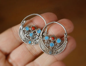 Antique Afghan Tribal Hoop Earrings with Turquoise - Tribal Hoop Earrings - Afghan Hoop Earrings - Ethnic Hoop Earrings