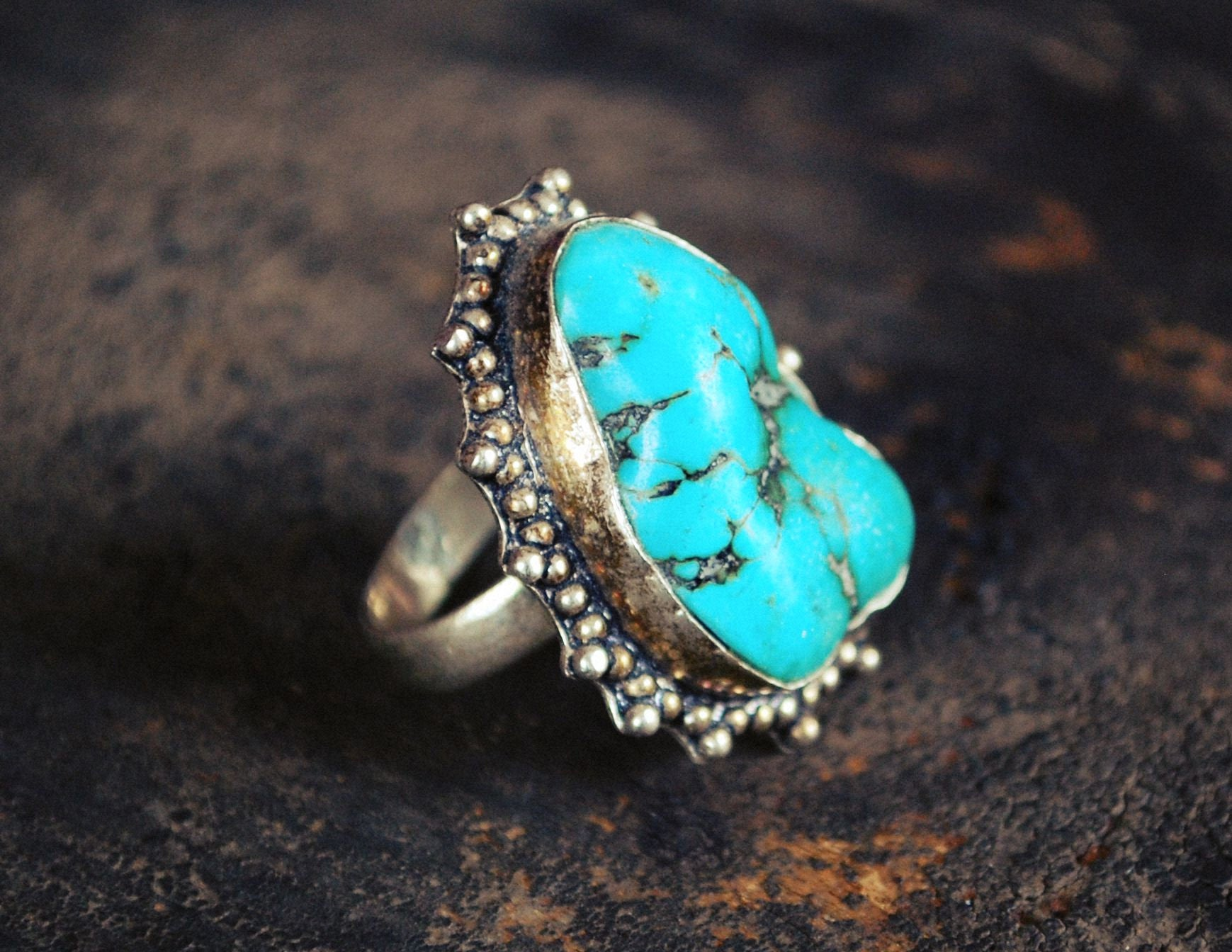 Indian Turquoise Nugget Ring - Size 5 3/4