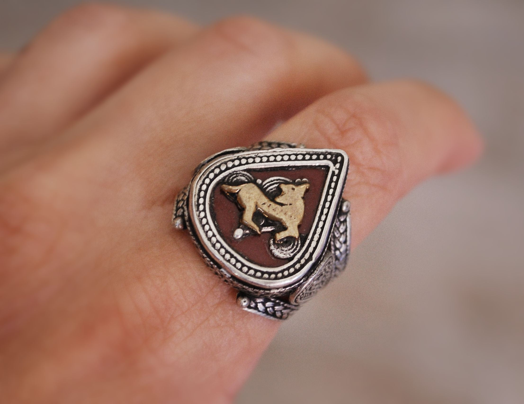 Tribal Kazakh Silver Ring - Size 8.5 - Central Asia Ethnic Tribal Ring - Ring from Kazakhstan - Tribal Silver Ring - Kazakh Jewelry